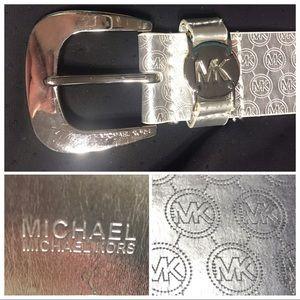GUC Michael Kors Silver Signature Logo Belt